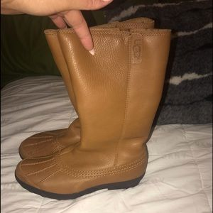 Authentic gently used brown leather UGG snow boots